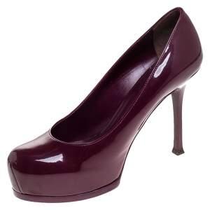 Saint Laurent Paris Purple Patent Leather Tribtoo Pumps Size 39