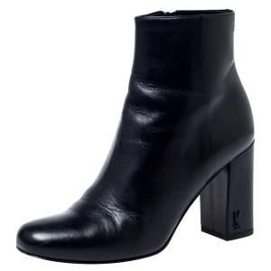 Saint Laurent Paris Black Leather Lou Ankle Boots Size 35
