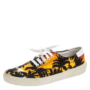 Saint Laurent Paris Multicolor Floral Canvas Low Top Sneakers Size 39.5