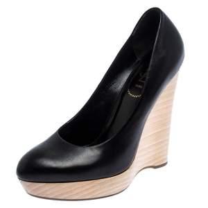Saint Laurent Paris Black Leather Maryna Wedge Pumps Size 39.5