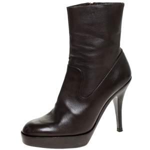 حذاء بوت كاحل سان لوران نعل سميك جلد بني مقاس 36.5