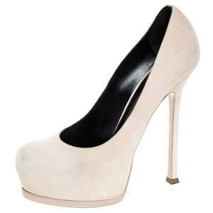 حذاء كعب عالي سان لوران باريس تريبوت سويدي بيج مقاس 39.5