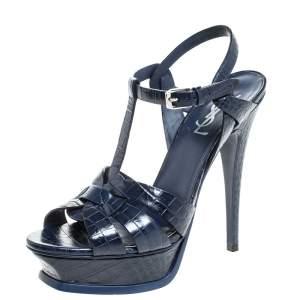 Saint Laurent Paris Blue Croc Embossed Leather Tribute Sandals Size 38.5