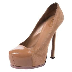 Saint Laiurent Paris Brown Suede And Patent Leather Tribtoo Platform Pumps Size 37