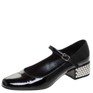 حذاء كعب عالي سان لوران باريس ماري جين نعل سميك مرصع جلد لامع اسود مقاس 40