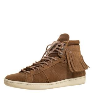 Saint Laurent Brown Suede Classic Court Fringe Sneakers Size 35