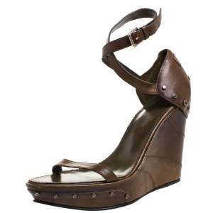 Saint Laurent Paris Brown Studded Leather Open Toe Platform Wedge Sandals Size 38