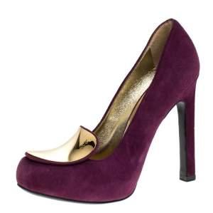 Saint Laurent Paris Purple Suede Plaque Embellished Round Toe Pumps Size 36.5