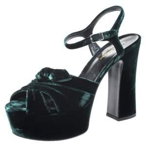 Saint Laurent Green Velvet Candy Bow Platform Sandals Size 39