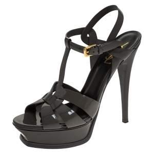 Saint Laurent Paris Grey Patent Leather Tribute Platform Sandals Size 38.5