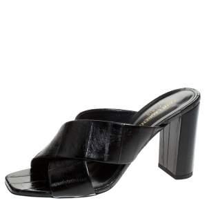 Saint Laurent Paris Black Textured Leather Loulou Criss Cross Mules Size 40