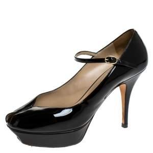 حذاء كعب عالي سان لوران باريس Tribute Mary Jane لامع أسود مقاس 39