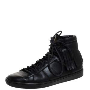 Saint Laurent Paris Black Leather Court Fringe Sneakers Size 37