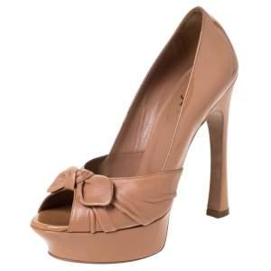 Yves Saint Laurent Beige Patent Leather And Leather Bow Tie Palais Platform Peep Toe Pumps Size 38.5
