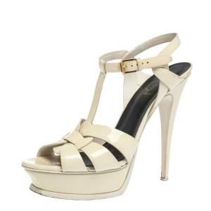 Saint Laurent Paris Cream Patent Leather Tribute Platform Sandals Size 39