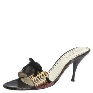 Saint Laurent Multicolor Snakeskin Bow Slide Sandals Size 40.5