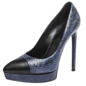 Saint Laurent Blue/Black Snake Embossed Leather Janis Cap Toe Platform Pumps Size 38