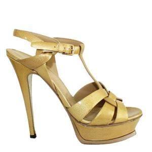 Saint Laurent Paris Gold Patent Leather Tribute  Sandals