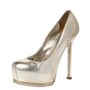 حذاء كعب عالي سان لوران باريس تريبيتو جلد ذهبي فاتح نعل سميك مقاس 37.5