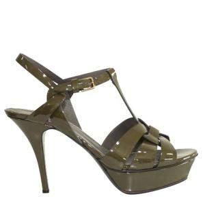 Saint Laurent Paris Green Patent Leather Tribute  Sandals