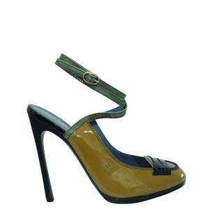 Saint Laurent Paris Yellow Patent Leather  Sandals Size 39