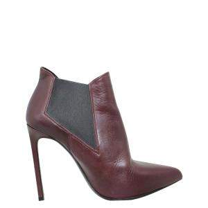 Saint Laurent Paris Burgundy Leather Ankle Boots Size 37