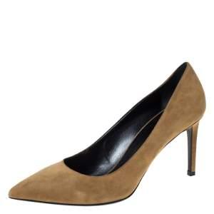 Saint Laurent Paris Brown Suede Zoe Pointed Toe Pumps Size 40