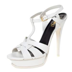 Saint Laurent White Leather Tribute Platfrom Sandals Size 41.5
