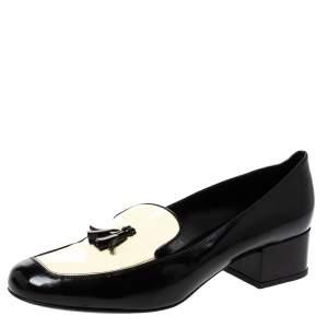 حذاء لوفرز سان لوران باريس بابس تاسيل جلد أبيض/أسود لامع بشراشيب مقاس 38