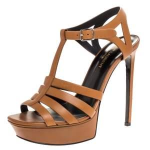 Saint Laurent Paris Brown Leather Strappy Platform Sandals Size 39