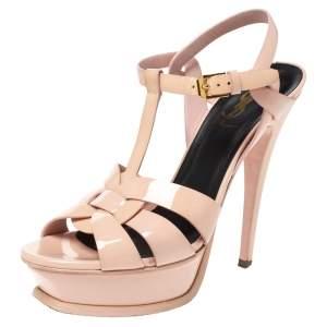 Saint Laurent Paris Pink Patent Leather Tribute Platform Sandals Size 37.5