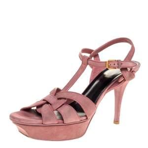 Saint Laurent Paris Pink Suede Tribute Platform Sandals Size 39