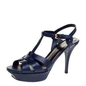 Saint Laurent Paris Blue Leather Tribute Platform Ankle Strap Sandals Size 38