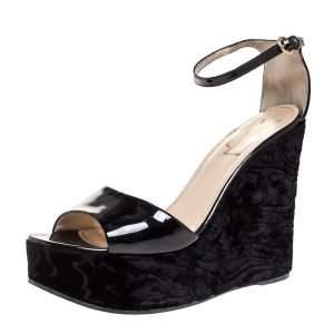Saint Laurent Paris Black Patent And Embossed Velvet Wedge Platform Sandals 38