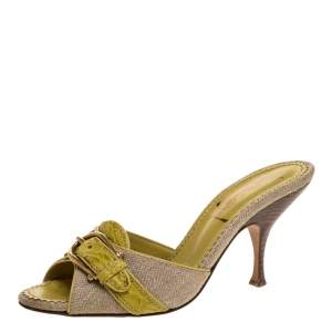 Yves Saint Laurent Grey Canvas And Yellow Croc Embossed Trim Buckle Detail Slide Mule Size 36.5