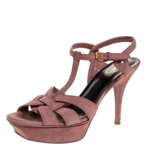 Saint Laurent Paris Pink Suede Tribute Platform Sandals Size 40