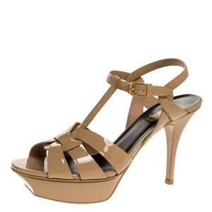 Saint Laurent Paris Beige Patent Leather Tribute Ankle Strap Sandals Size 38.5