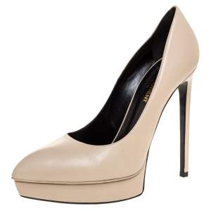 Saint Laurent Paris Off-White Leather Janis Pointed Toe Platform Pumps Size 38.5