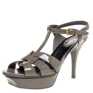 Saint Laurent Paris Grey Patent Leather Tribute Platform Sandals Size 37.5