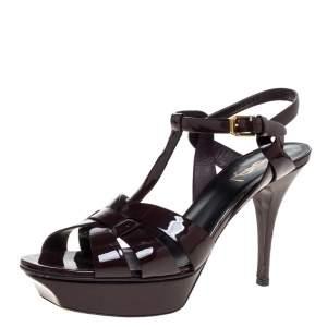 Saint Laurent Paris Burgundy Patent Leather Tribute Platform Sandals Size 40