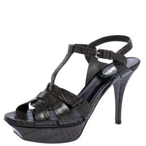 Saint Laurent Paris Dark Grey Croc Embossed Leather Tribute Sandals Size 38.5