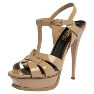 Saint Laurent Paris Cream Patent Leather Tribute Platform Sandals Size 36.5