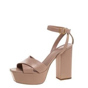 Saint Laurent Paris Beige Criss Cross Leather Farrah Platform Sandals Size 38.5