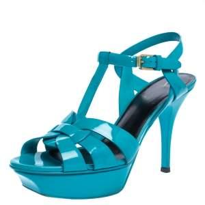 Saint Laurent Paris Turquoise Patent Leather Tribute Platform Sandals Size 37