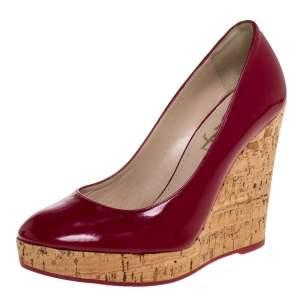 Saint Laurent Paris Red Patent Leather Wedge Pumps Size 37