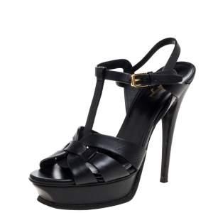 Saint Laurent Paris Black Leather Tribute Platform Ankle Strap Sandals Size 39