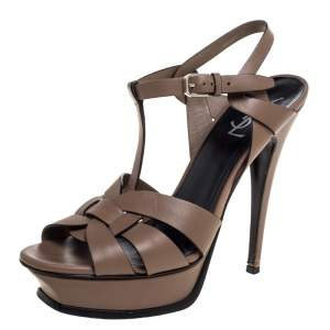 Saint Laurent Paris Brown Leather Tribute Platform Ankle Strap Sandals Size 39