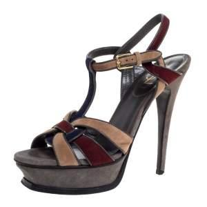 Saint Laurent Paris Multicolor Suede Tribute Platform Sandals Size 38