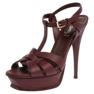 Saint Laurent Paris Burgundy Textured Leather Tribute Platform Sandals Size 39