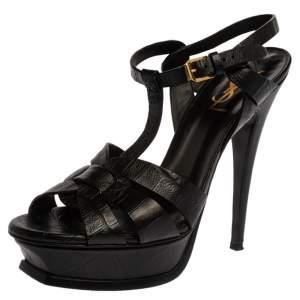 Saint Laurent Paris Black Croc Embossed Leather Tribute Platform Sandals Size 39